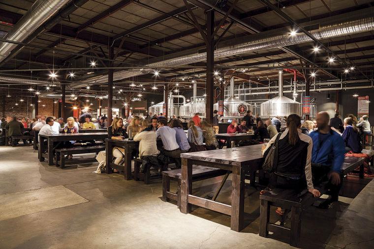 Inside Urban Chestnut's Grove Brewery & Bierhall