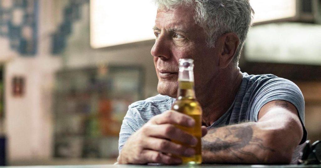 Anthony Bourdain enjoying a beer